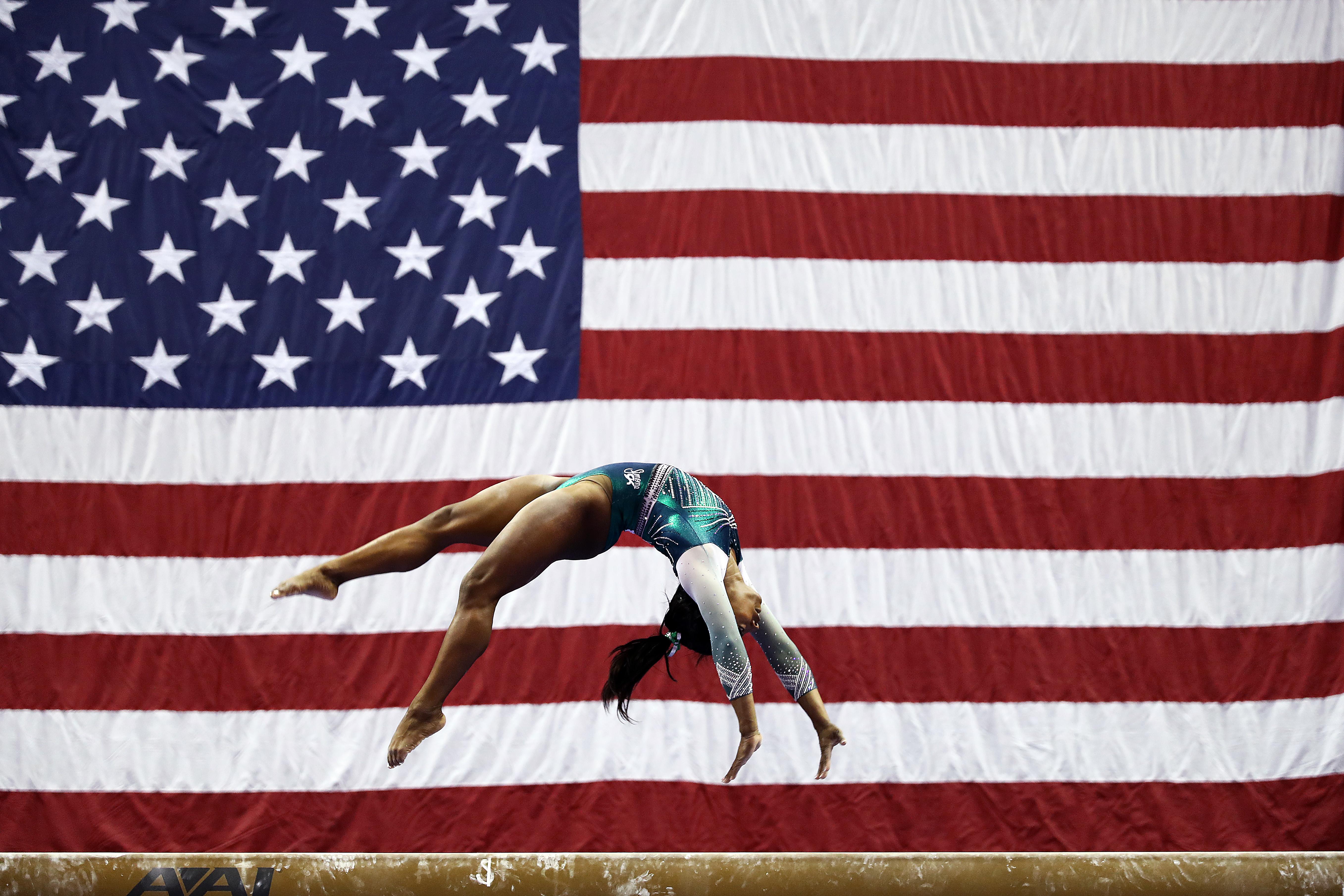Simone Biles makes history with balance beam dismount at US women's gymnastics championship