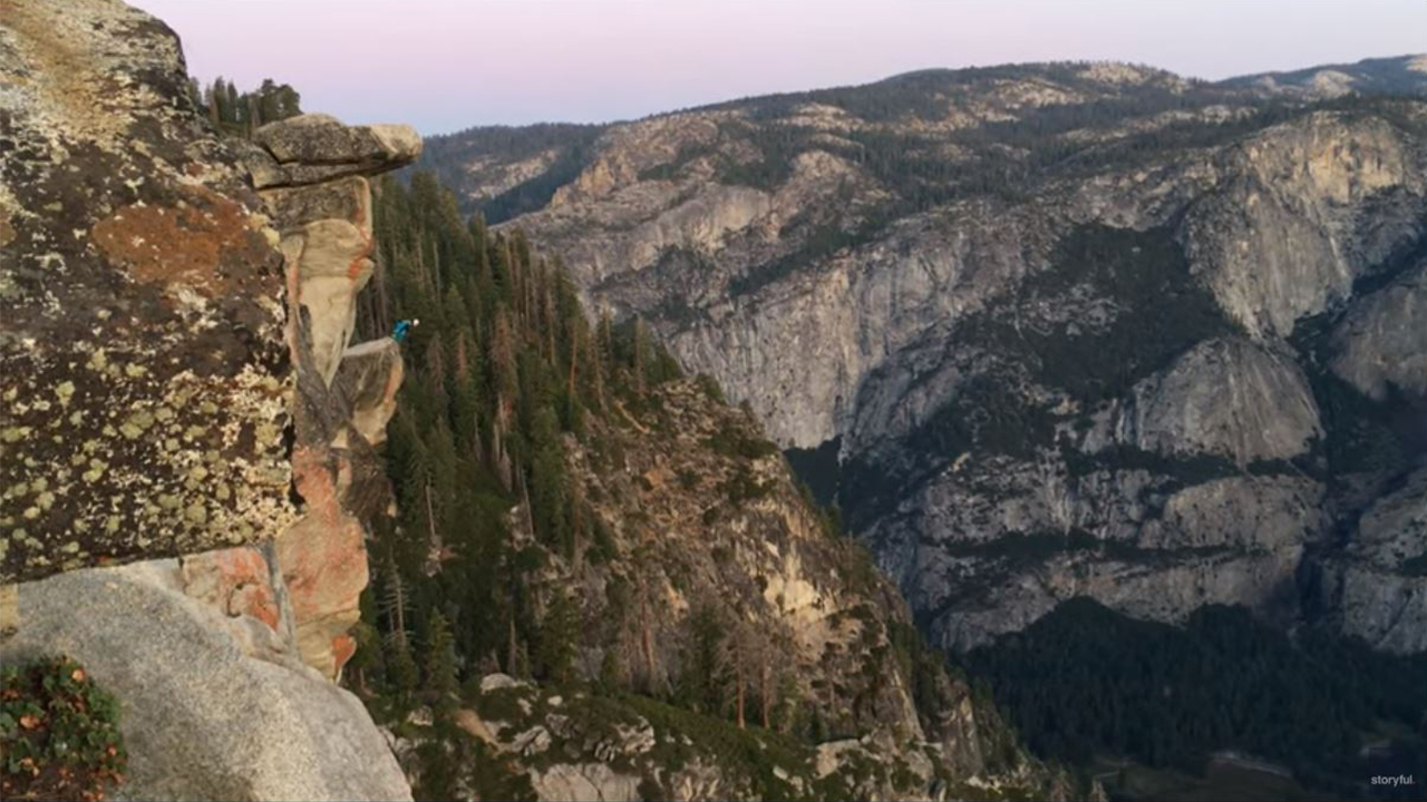 BASE jumper's heart-stopping dive from Yosemite National Park's Glacier Point caught on video
