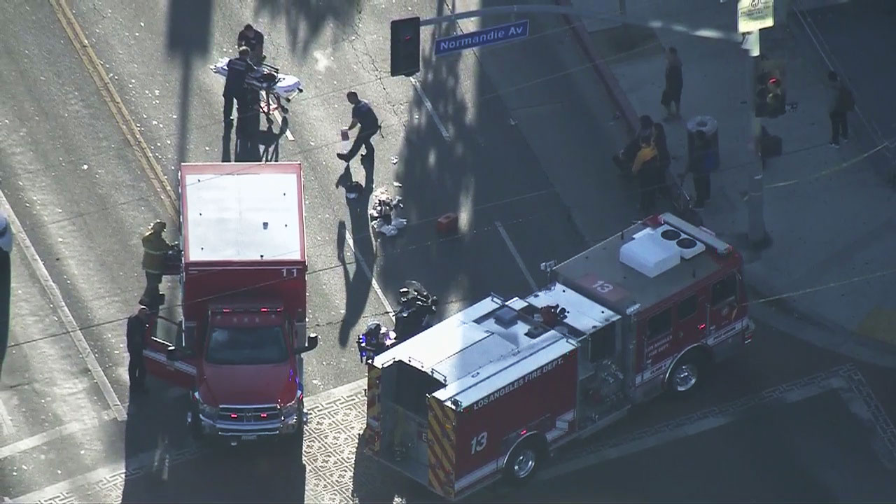 Child transported to hospital after being struck by vehicle in Pico-Union district of Los Angeles